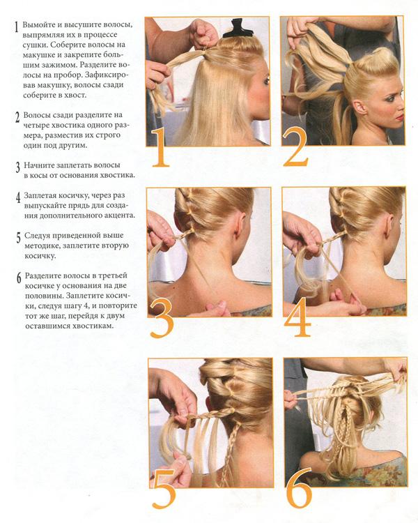 Плетение волос на короткие волосы пошаговое